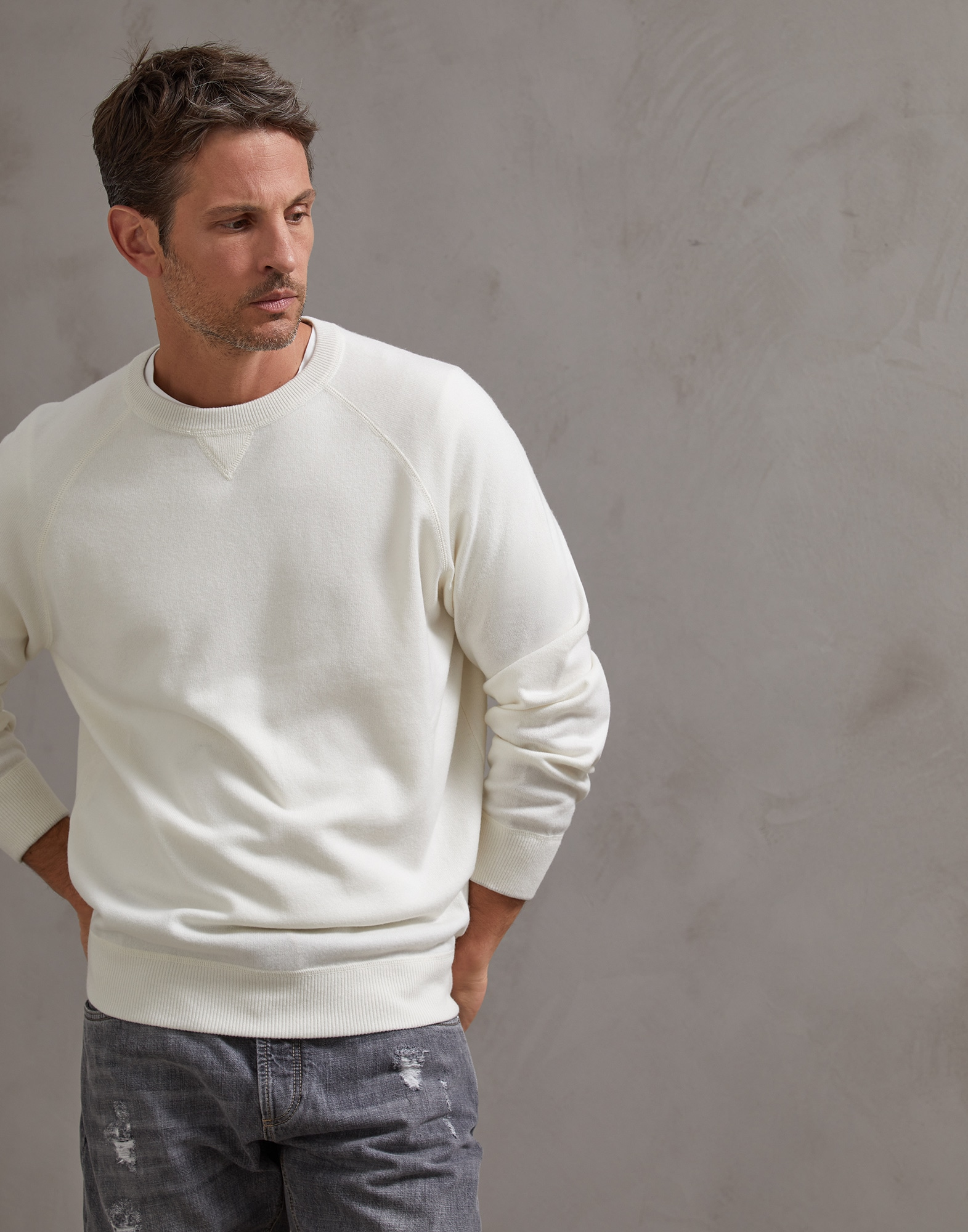 Crewneck Sweater Panama Man 0 - Brunello Cucinelli