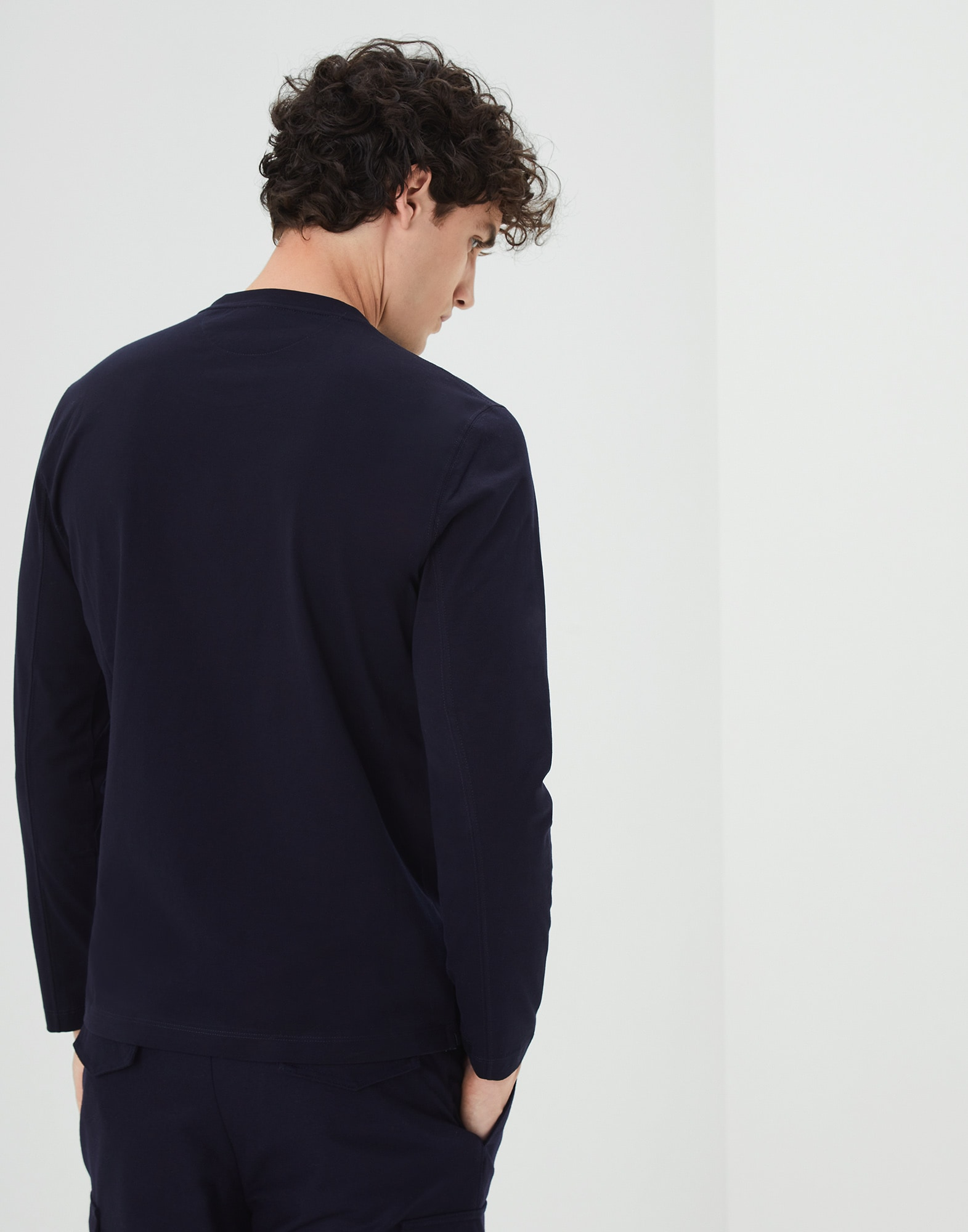 Long Sleeve T-Shirt Navy Blue Man 2 - Brunello Cucinelli
