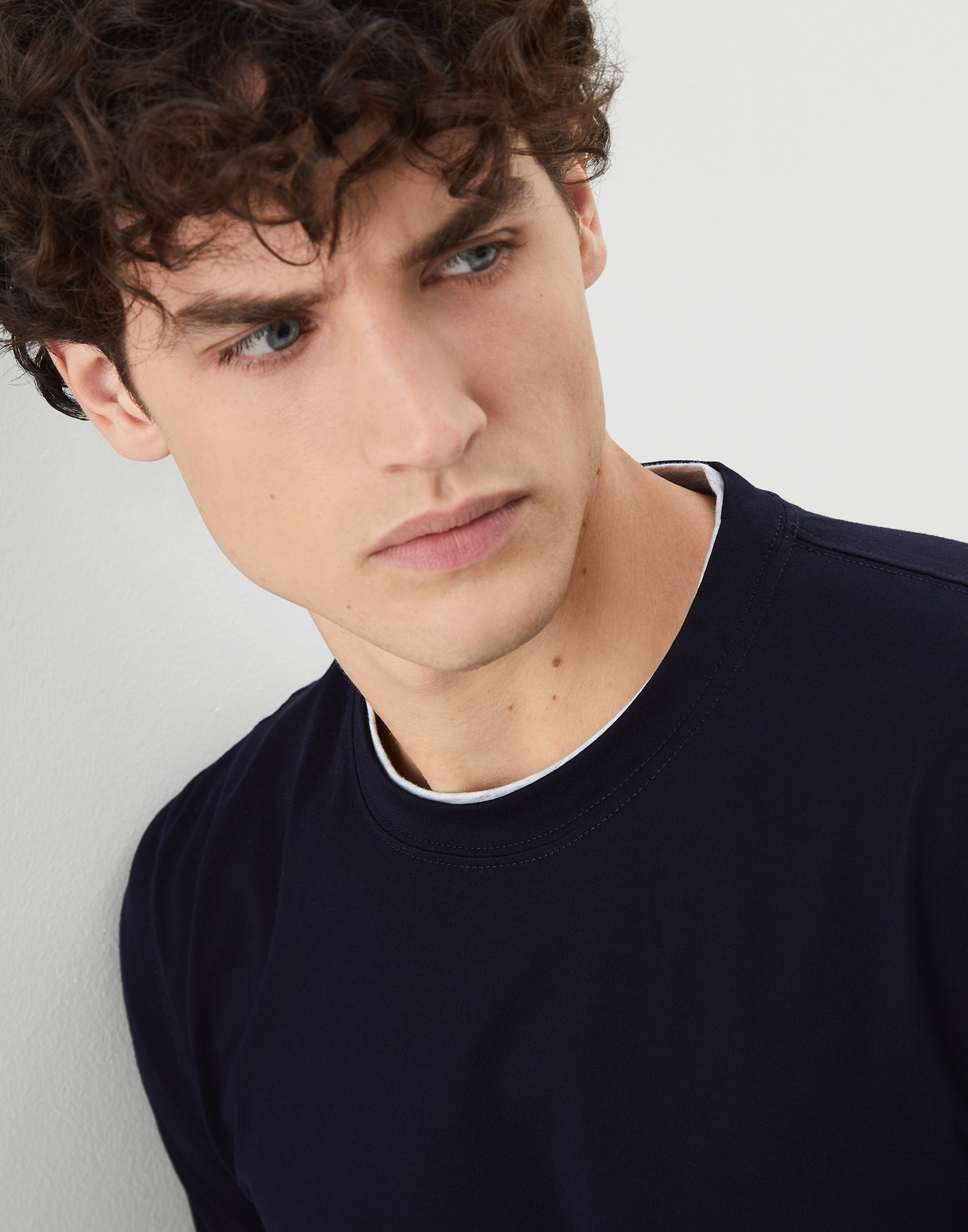 Long Sleeve T-Shirt Navy Blue Man 3 - Brunello Cucinelli