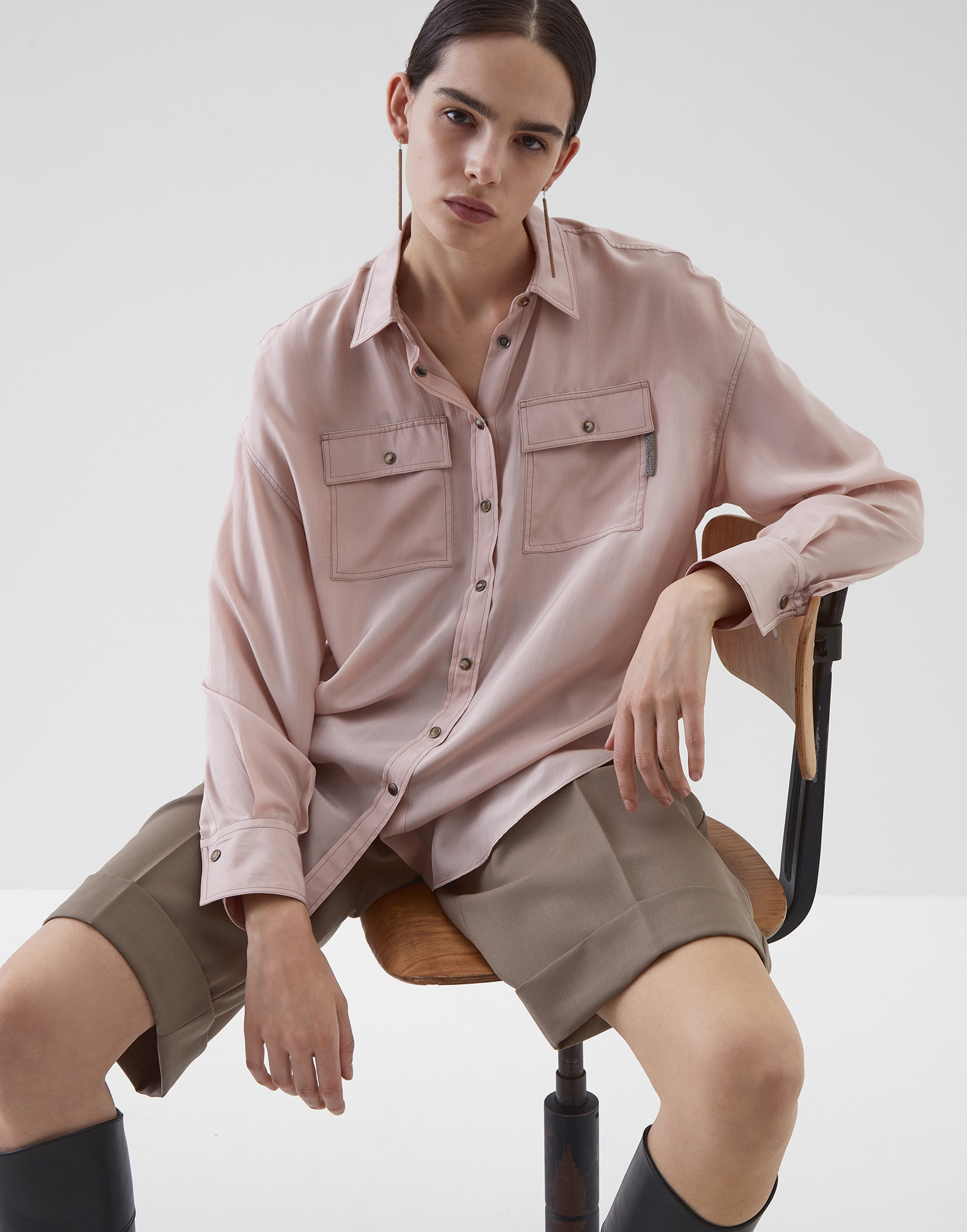 Silk Shirt Powder Woman 0 - Brunello Cucinelli