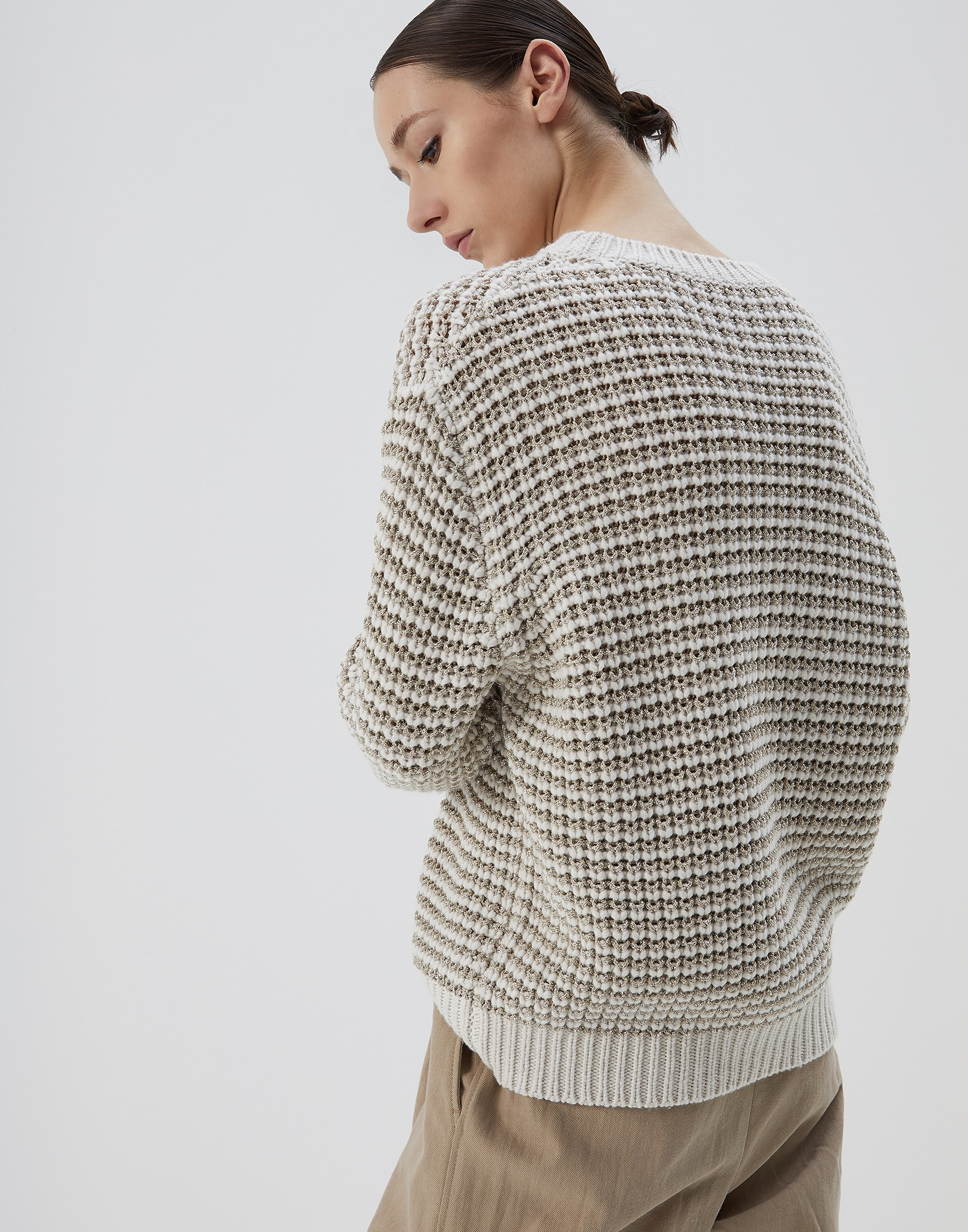 Crewneck Sweater Oat Woman 2 - Brunello Cucinelli