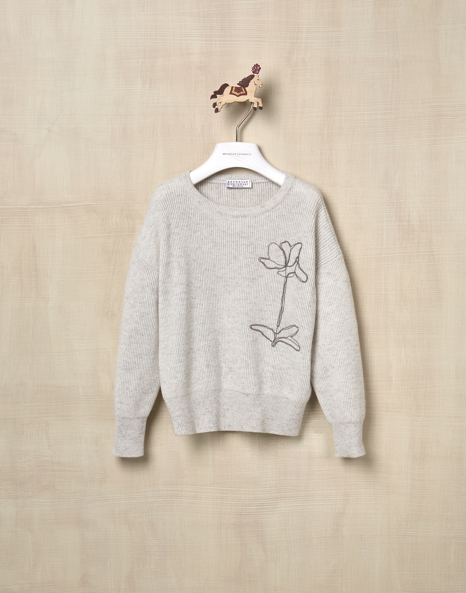 Crewneck Sweater Pearl Grey Girl 1 - Brunello Cucinelli