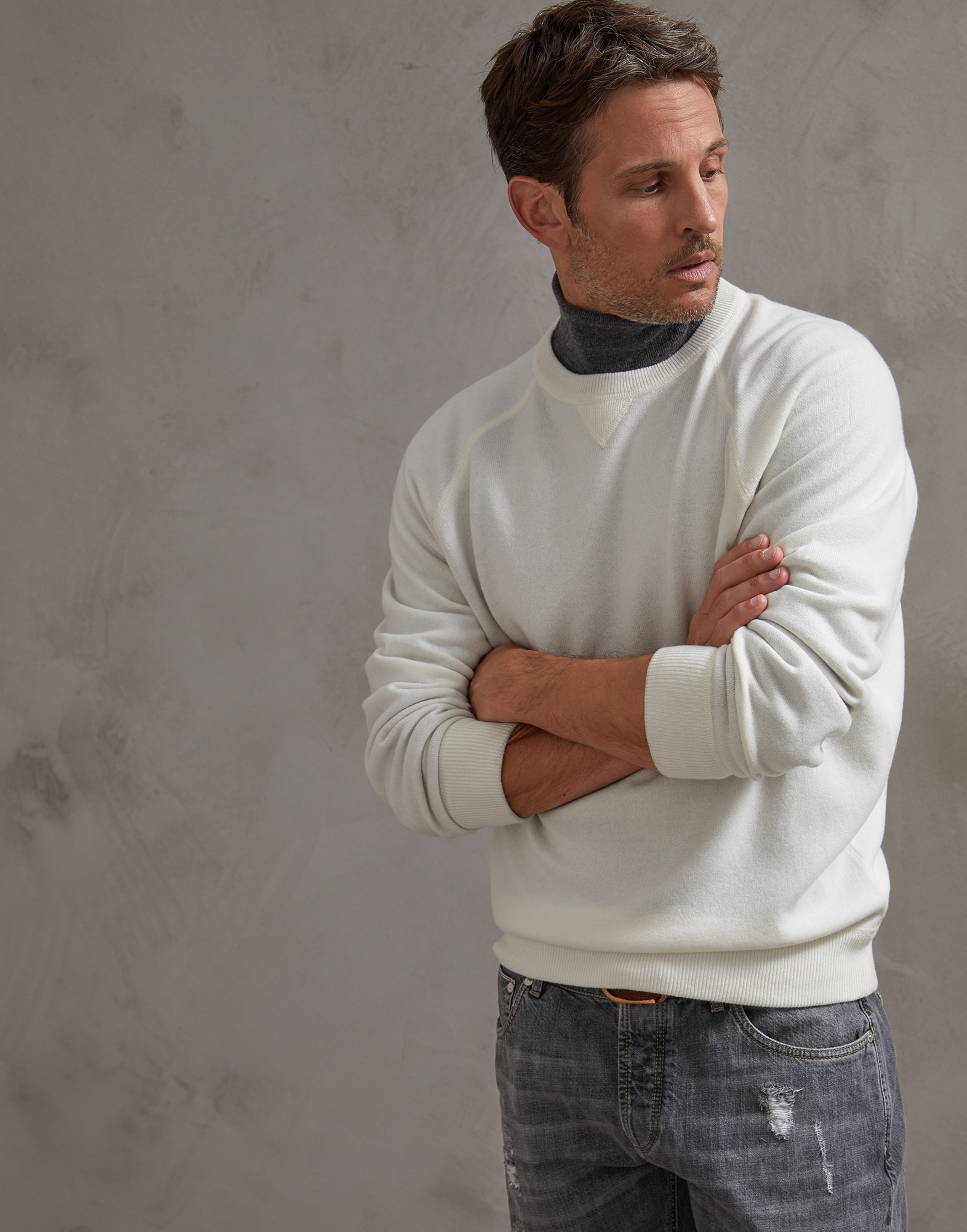 Crewneck Sweater Panama Man 4 - Brunello Cucinelli
