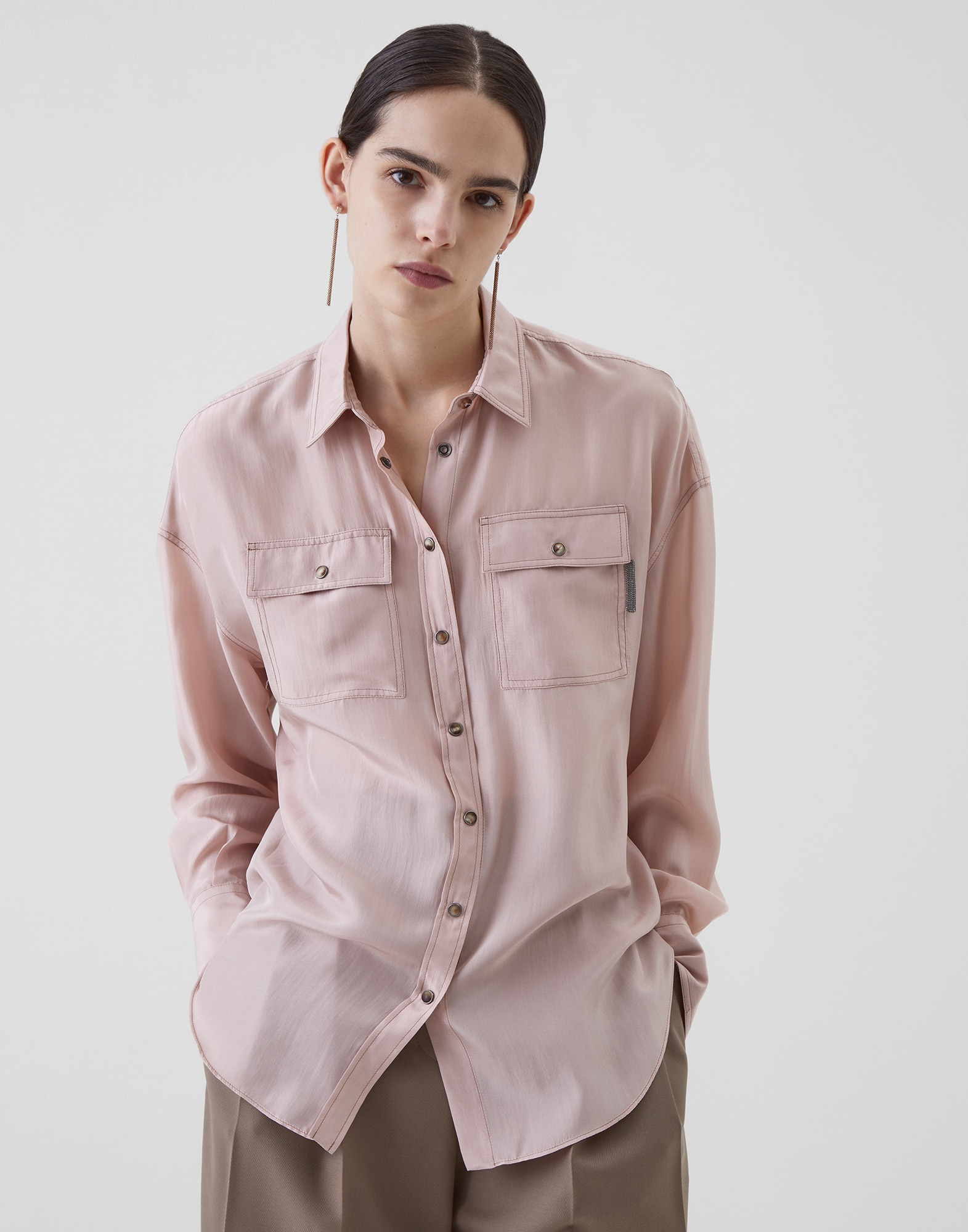 Silk Shirt Powder Woman 1 - Brunello Cucinelli