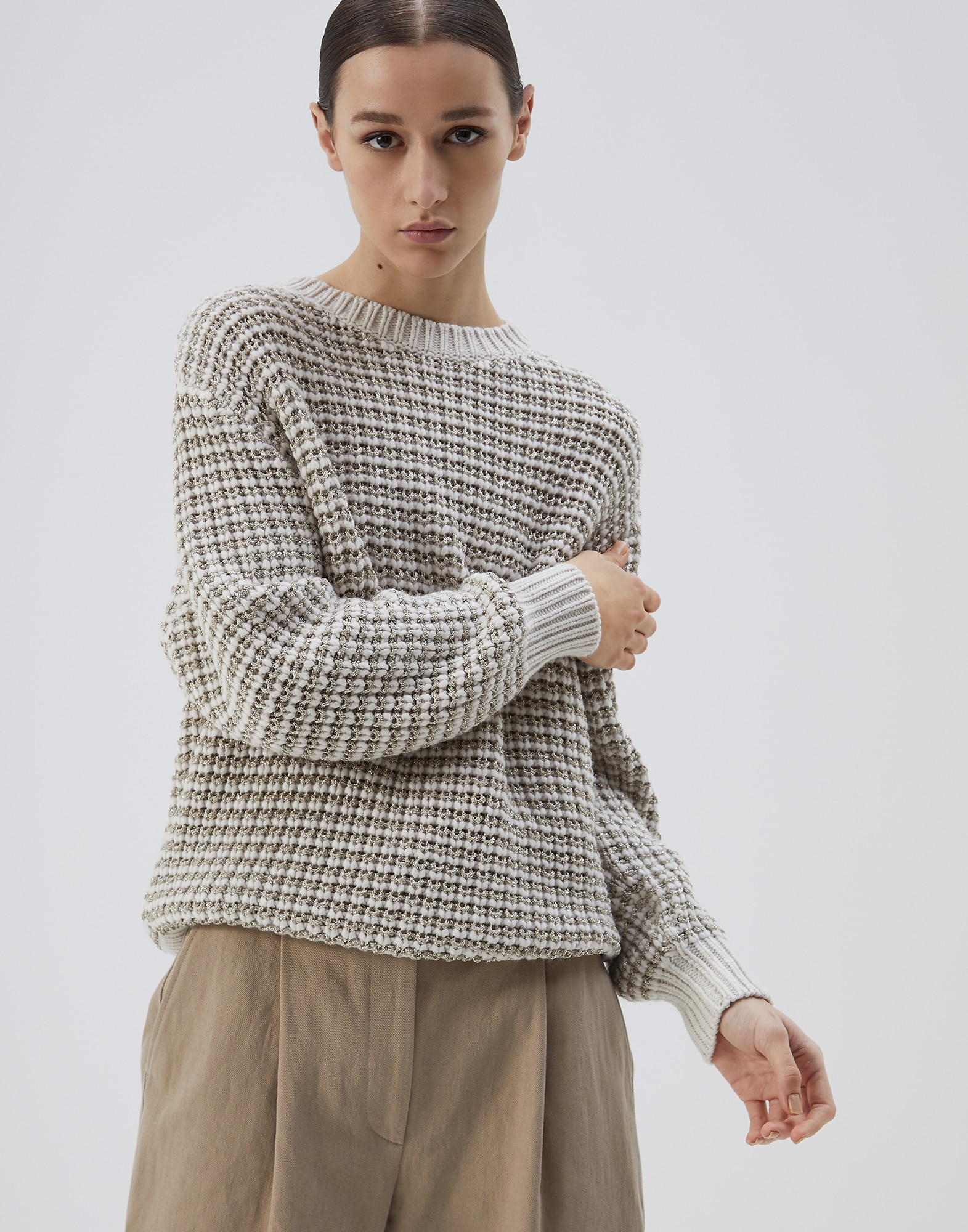Crewneck Sweater Oat Woman 1 - Brunello Cucinelli