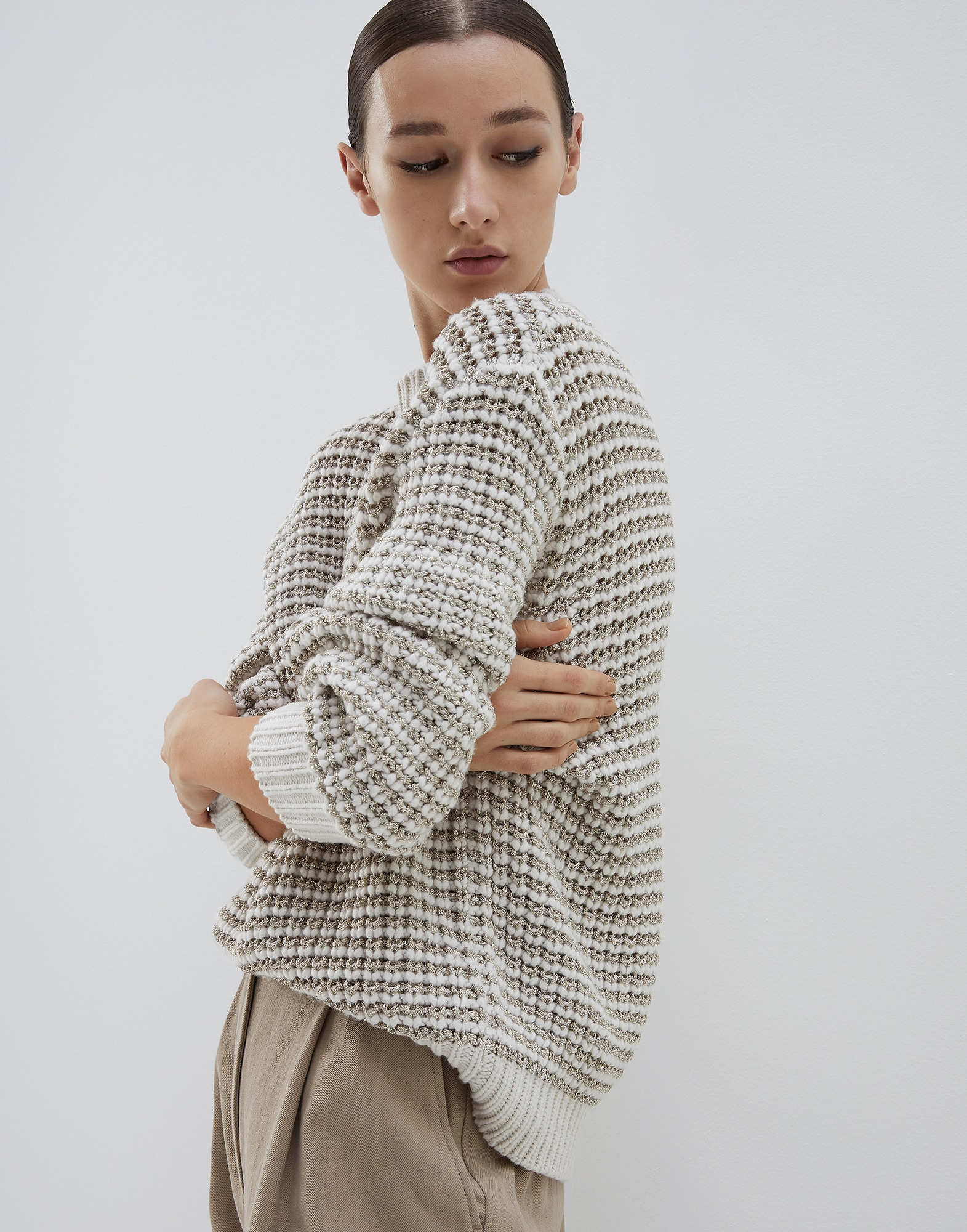Crewneck Sweater Oat Woman 0 - Brunello Cucinelli
