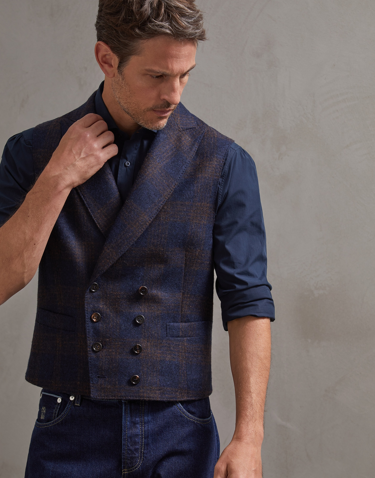 Vest Blue Man 0 - Brunello Cucinelli