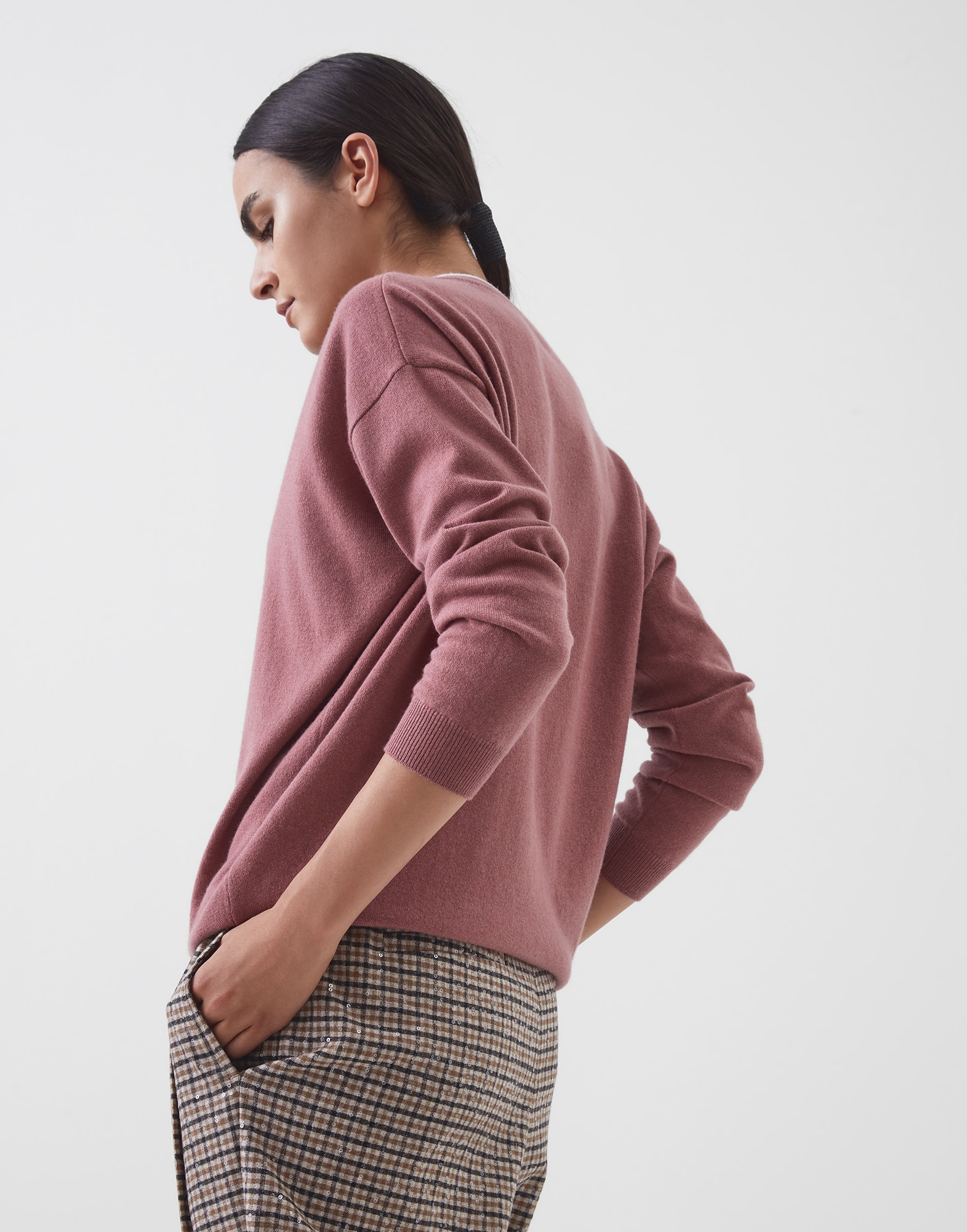 V-neck Sweater Pink Woman 2 - Brunello Cucinelli