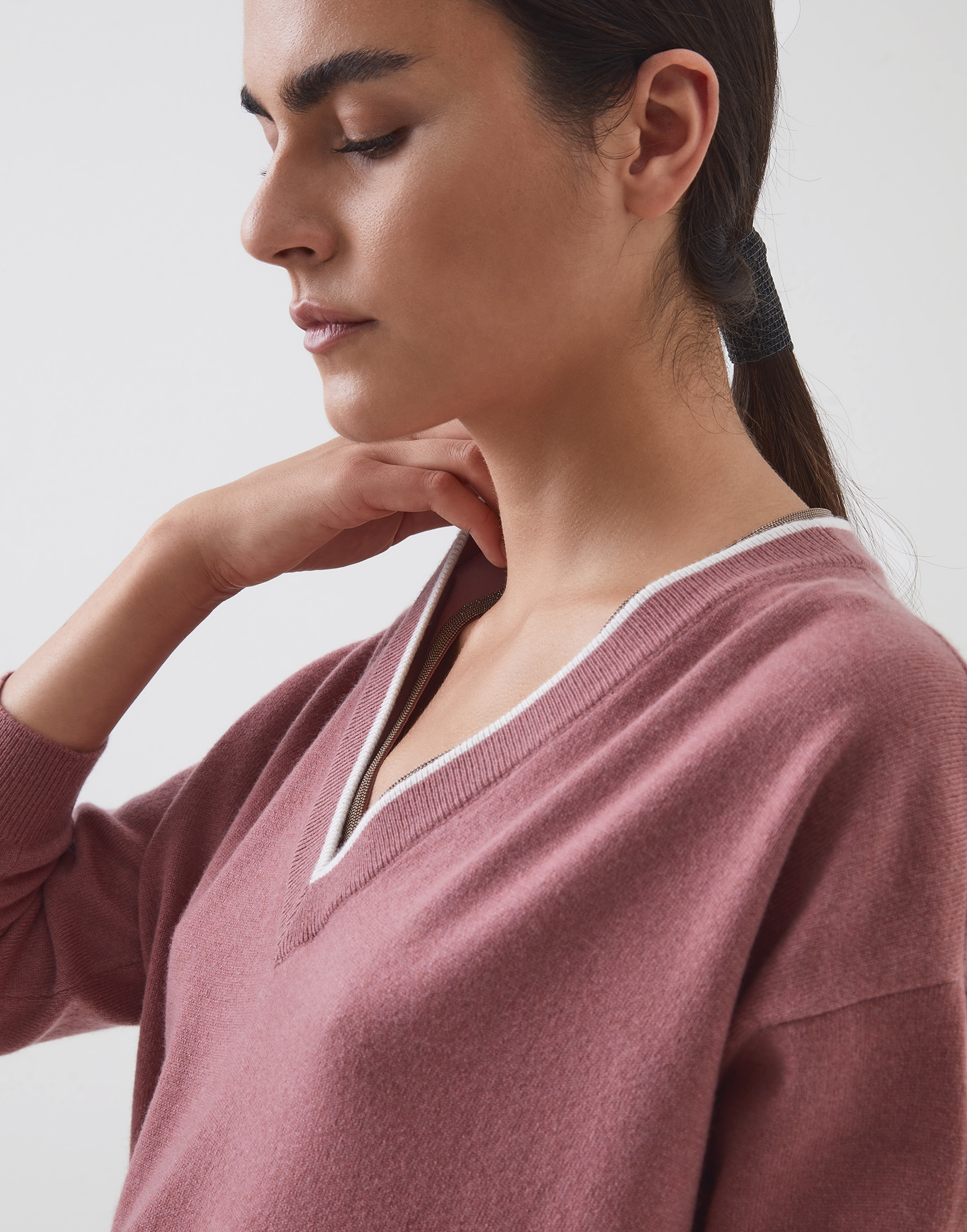 V-neck Sweater Pink Woman 0 - Brunello Cucinelli