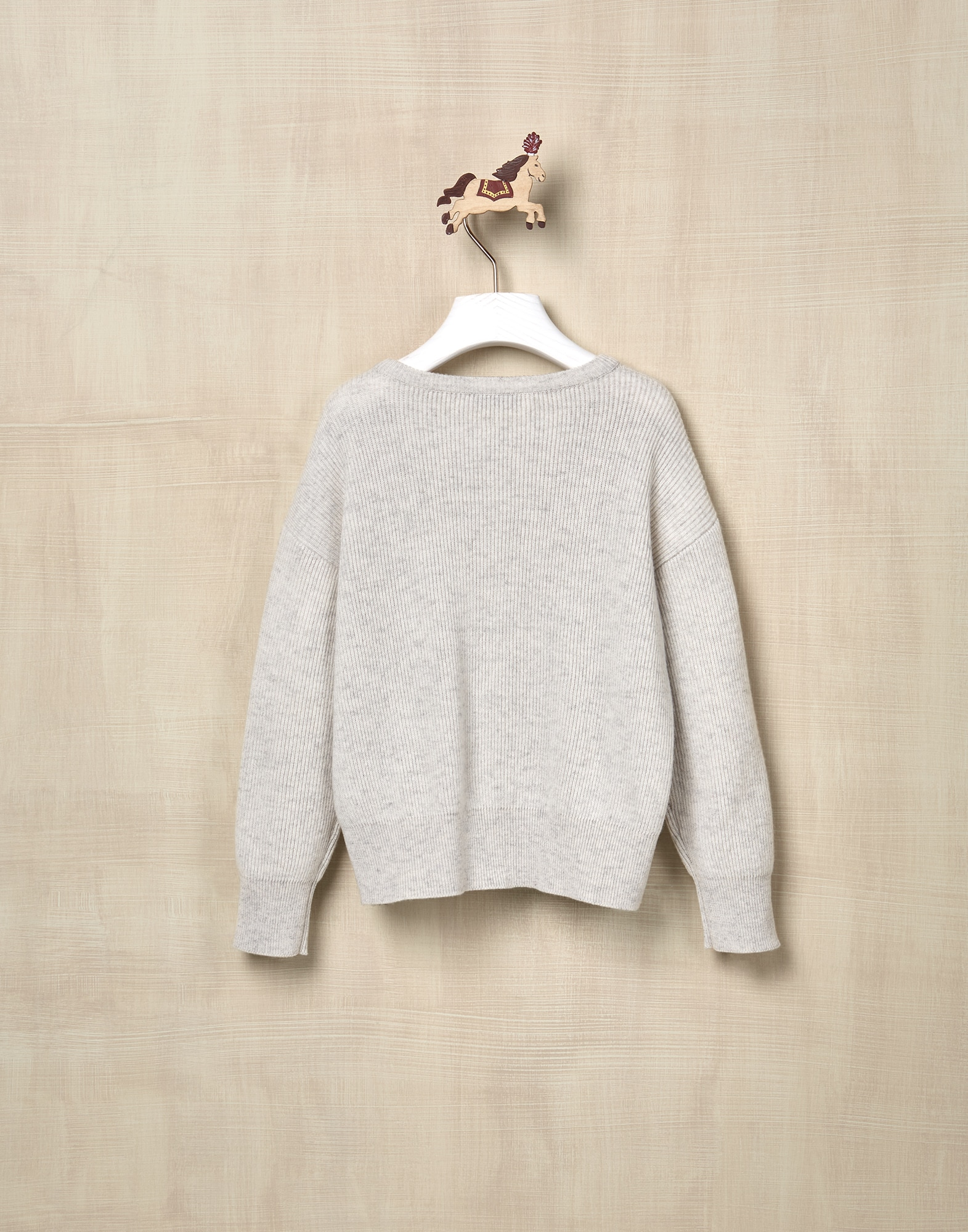 Crewneck Sweater Pearl Grey Girl 2 - Brunello Cucinelli