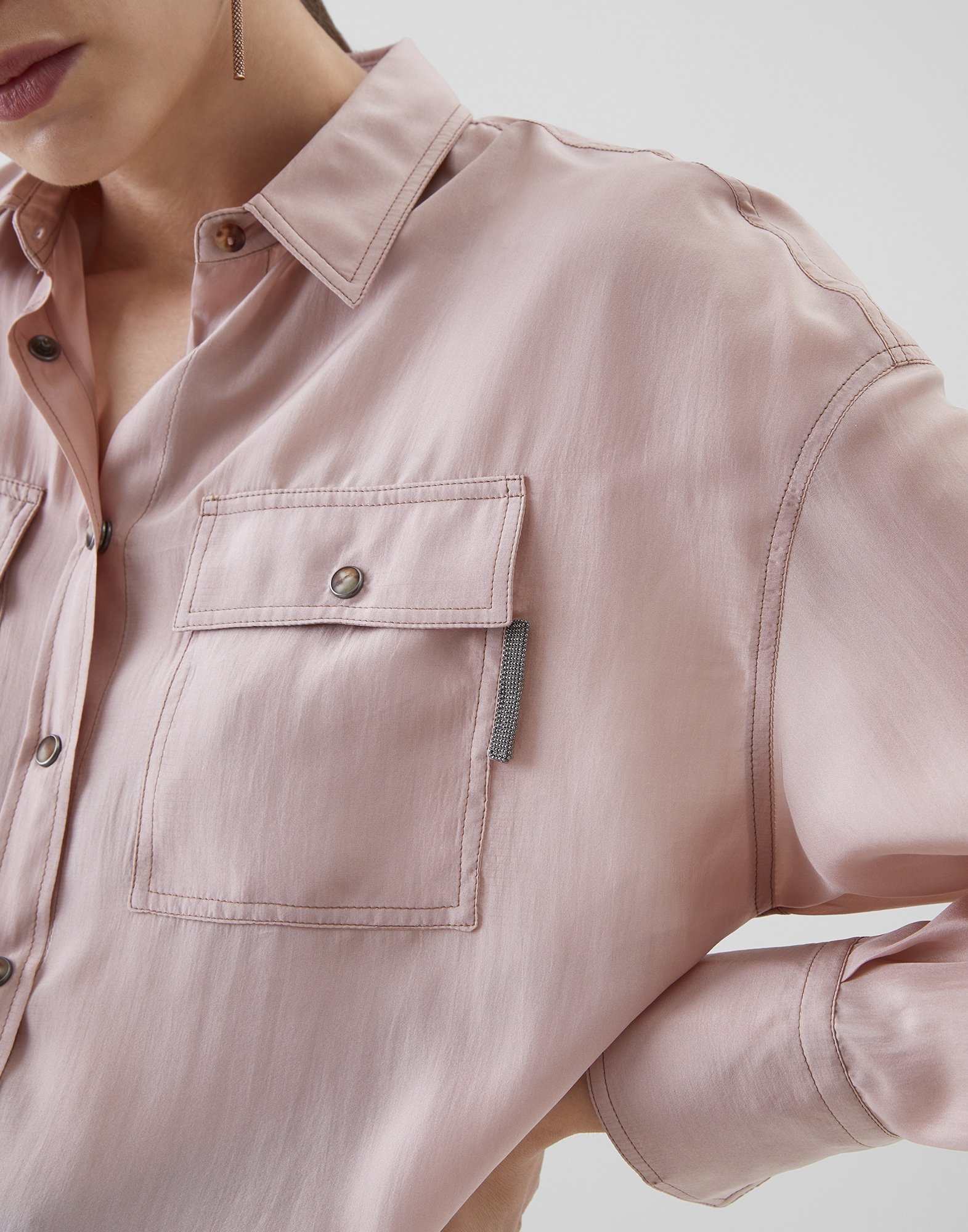 Silk Shirt Powder Woman 3 - Brunello Cucinelli