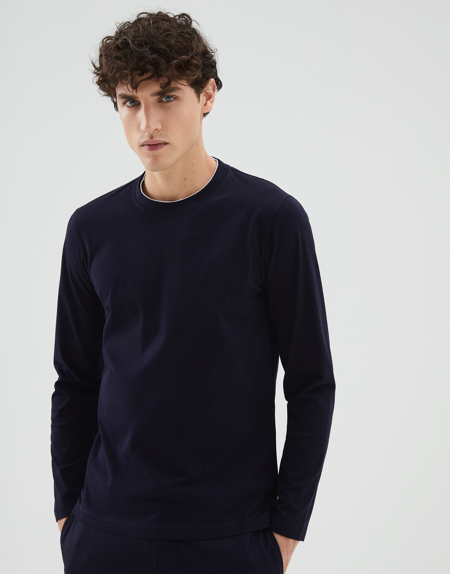 Long Sleeve T-Shirt Navy Blue Man 1 - Brunello Cucinelli