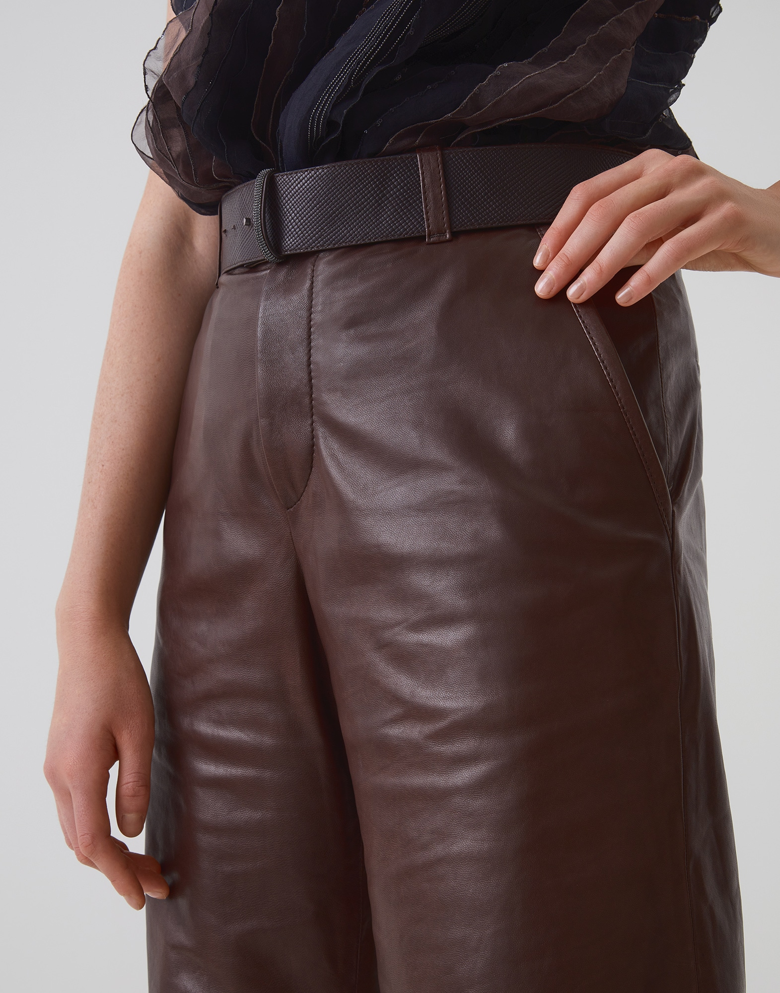 Leather Trousers Mustang Woman 2 - Brunello Cucinelli