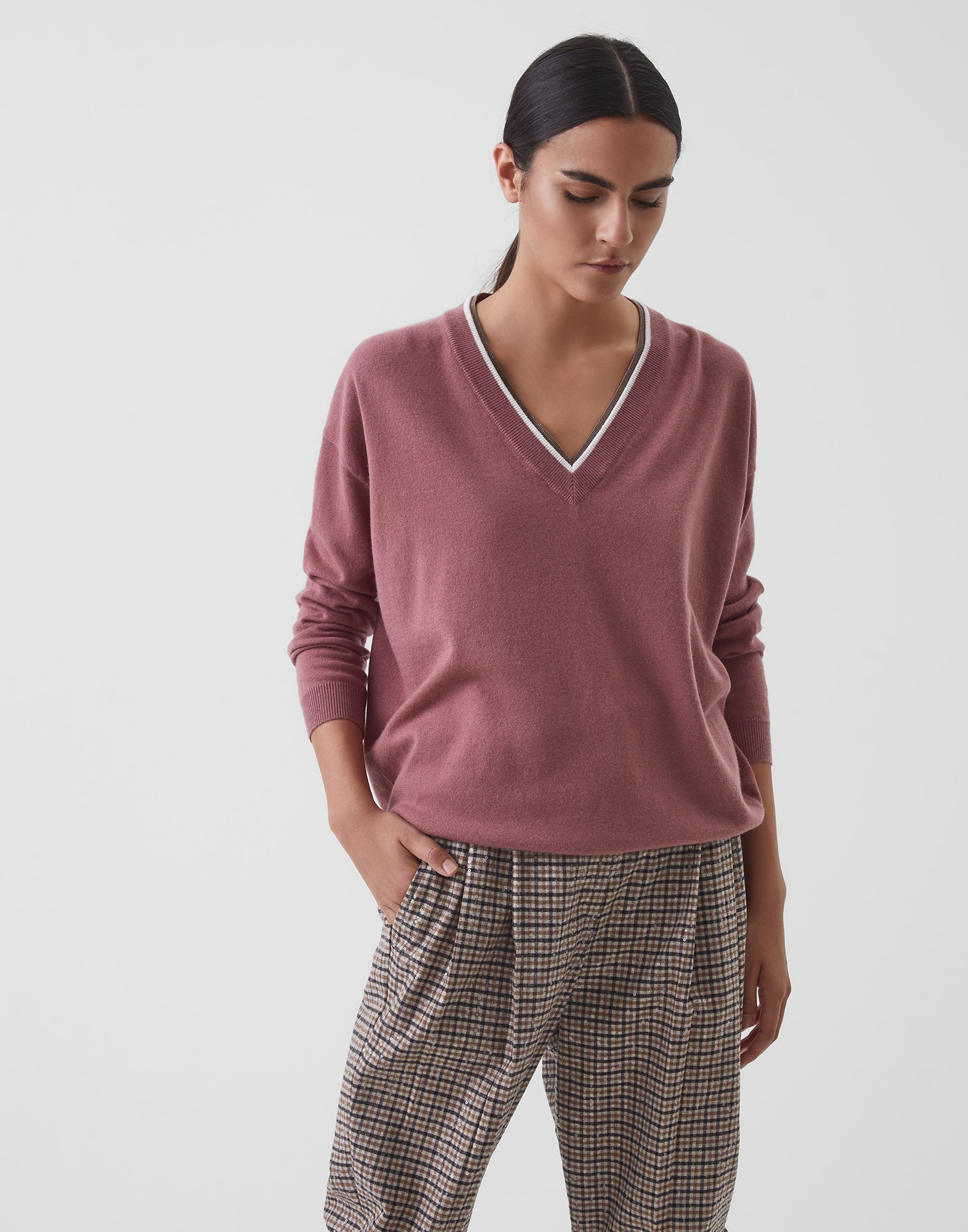 V-neck Sweater Pink Woman 1 - Brunello Cucinelli